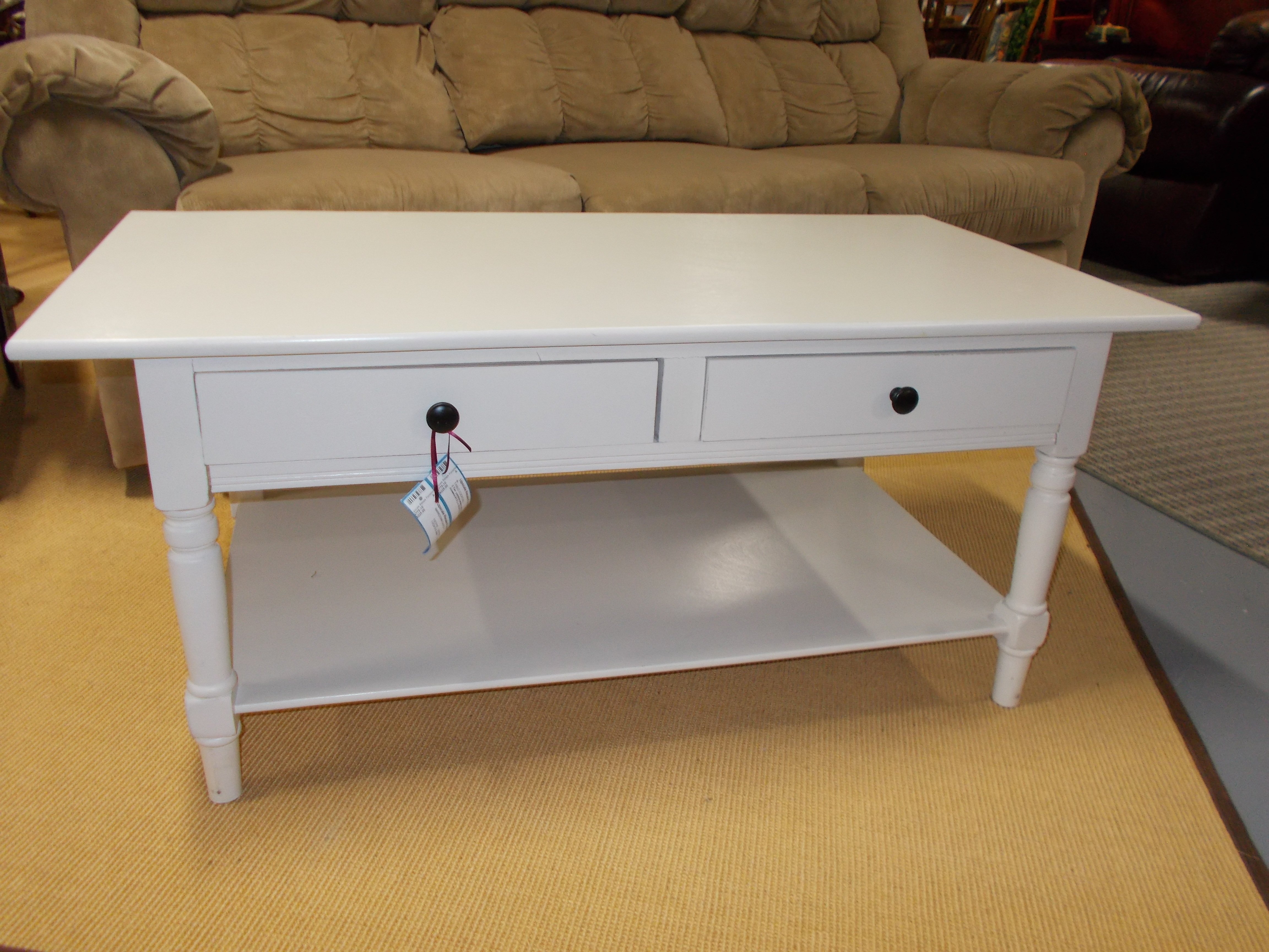 2 Tier White Painted Coffee Table With Drawers 41 5 X 21 5 X 18